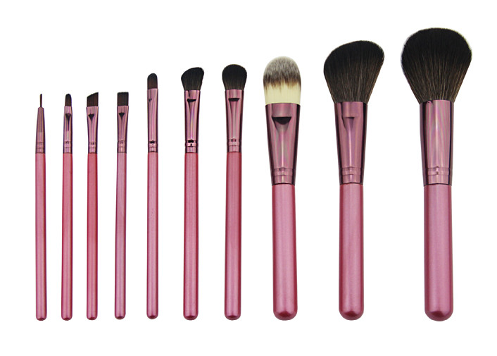 Pink Professional Makeup Brush Set Include Wooden Handle Aluminum Ferrule