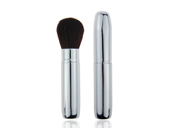 102mm Metal Handle Sliver Retractable Face Powder Brush Lightweight