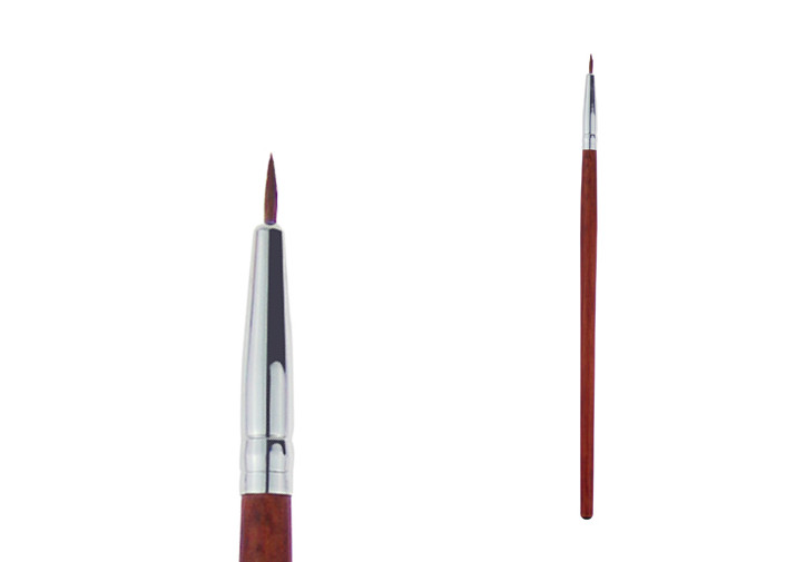 Professional Synthetic Flat Liner Brush Red Wine Long Wooden Handle