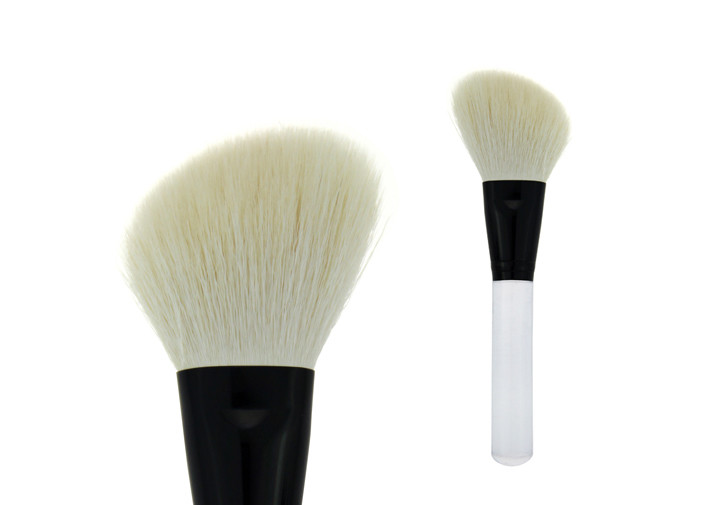 Angle White Goat Hair Contour Blush Brush Transparent Handle Metal Ferrule