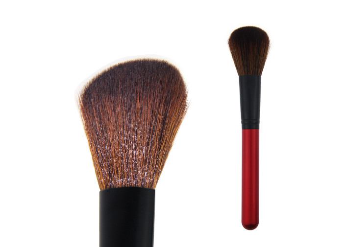 Soft Contour Blush Brush Brown Synthetic Hair Red Wooden Handle
