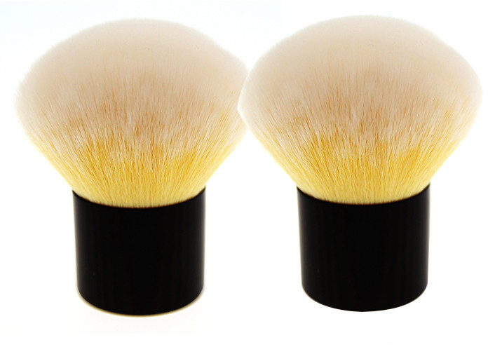 Shorted Yellow Kabuki Makeup Brush With Nylon Wool Plastic Handle