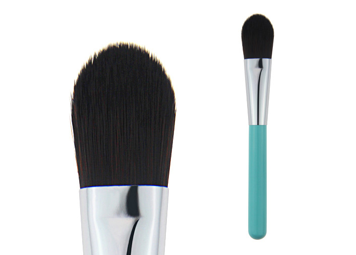 OEM Powder Foundation Brush Bule Wooden Handle Black Fiber Hair