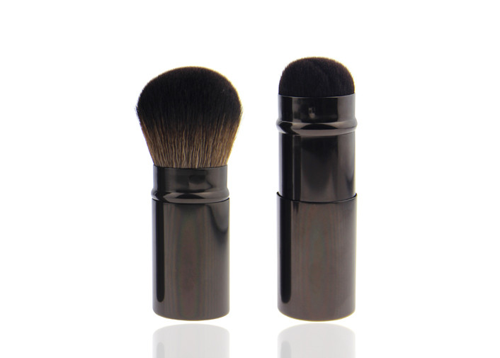 Custom Precision Retractable Makeup Brush Round Kabuki Brush Brown