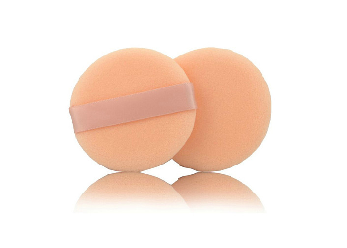 Beautiful Cosmetic Powder Puff Makeup , Round White Face Powder Makeup Sponges